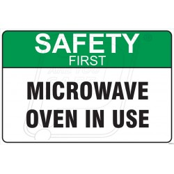 Microwave oven in use
