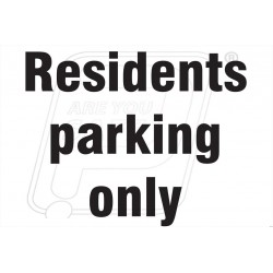 Residence parking only