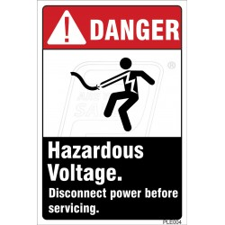 Hazardous voltages Cause Severe Injury Or Death