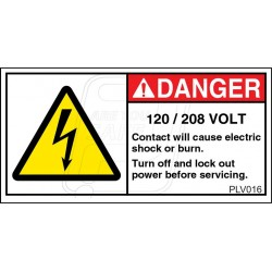 120 VOLT Contact Will Cause Electric Shock Or Burn.