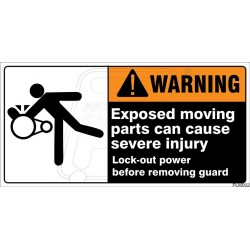 Exposed moving parts can cause severe injury
