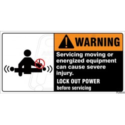 Servicing moving or energized equipment can cause severe injury