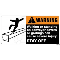 Walking or standing on conveyor covers or gratings can cause severe injury