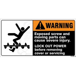 Exposed screw and moving parts can cause severe injury