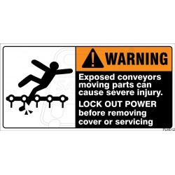 Exposed conveyors moving parts can cause severe injury