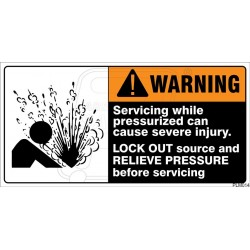 Servicing while pressurized can cause severe injuiry