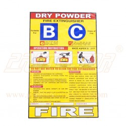 Sicker for DCP type fire extinguisher