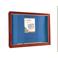 Push Up Pin Board With Glass sliding door with Wooden frame and lock