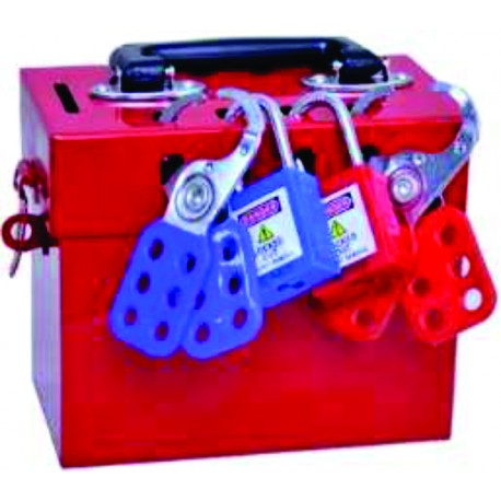 Small group lockout box with OSHA padlock kit