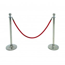 Line Manager Silver Post With Red Valvet Rope