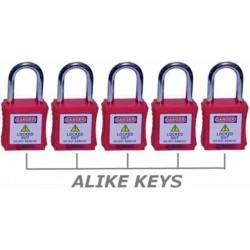 OSHA LOTO padlock 38mm Nylon Shackle With Master Key (1set-5nos)