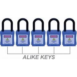 OSHA LOTO padlock 38mm steel shackle with master key.(1set-5nos).