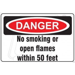 No smoking or open flames within 50 feet