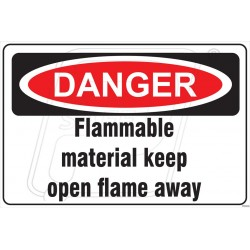 Flammable material keep open flame away