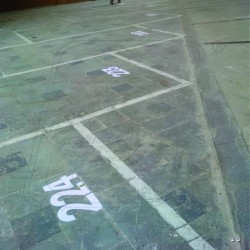 Floor number by rubber paint