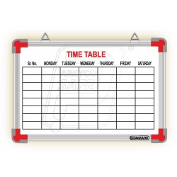 "School time table printed board 12"" X 18""."