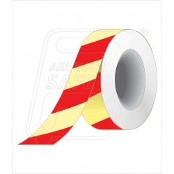 Night glow red diagnol tape 50 mm X 10 M